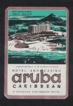 Collectable Hotel label caribbean Aruba luggage labels #052